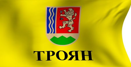 troyan: Flag of Troyan (Bulgaria) against white background. Close up.
