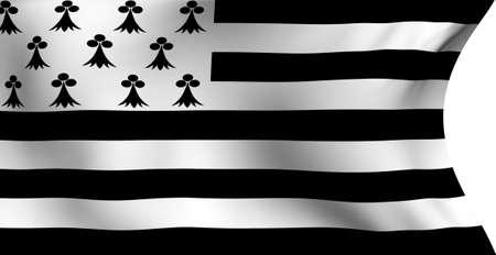 bretagne: Flag of Bretagne, France against white background. Close up.  Stock Photo