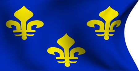 Flag of Ile-de-France, France against white background. Close up.  photo