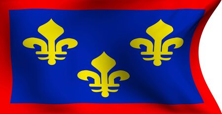 Flag of Anjou, France against white background. Close up.  photo