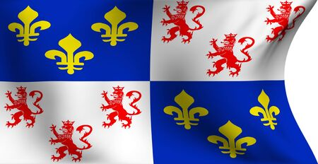 Flag of Picardie, France against white background. Close up.  photo