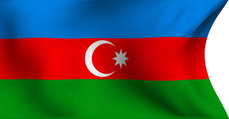 azerbaijanian: Flag of Azerbaijan against white background. Close up.  Stock Photo