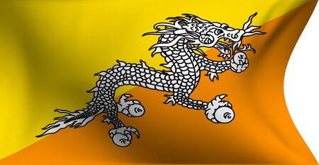bhutan: Flag of Bhutan against white background. Close up.  Stock Photo