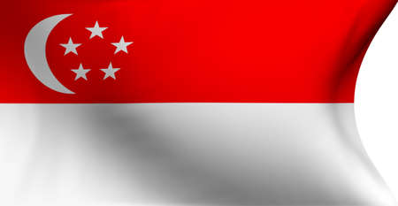 Flag of Singapore against white background. Close up.