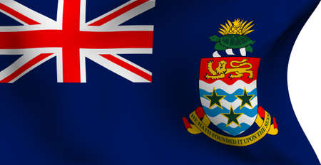 Flag of Cayman Islands against white background. Close up.  photo