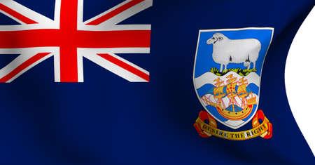 Bandera de las Islas Malvinas (Falkland) sobre fondo blanco.  Foto de archivo - 8250405
