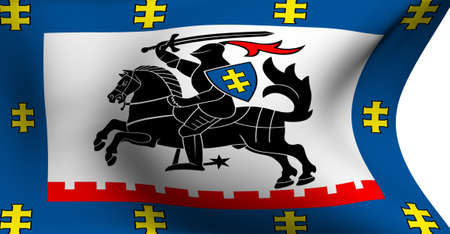 Flag of Panevezys, Lithuania against white background.  photo