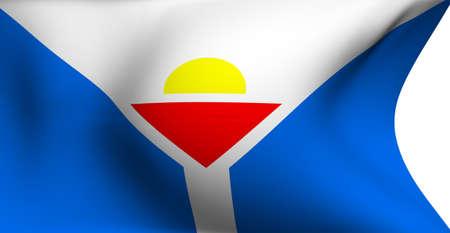 martin: Flag of Saint Martin against white background. Close up.