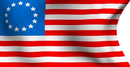 Betsy Ross flag against white background. Close up.  photo