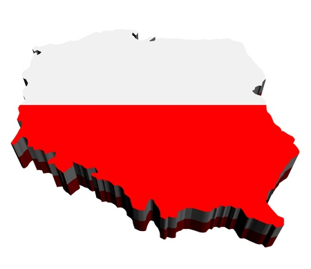 poland: Map of Poland against white background. Close up.