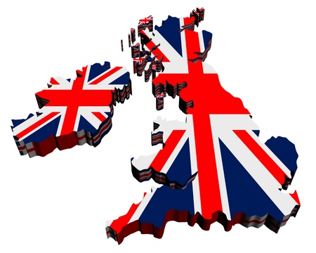 Map of UK against white background. Close up.  Stock Photo