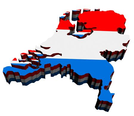 Map of Netherlands against white background. Close up.