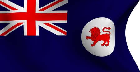 tasmania: Flag of Tasmania, Australia against white background. Close-up.  Stock Photo