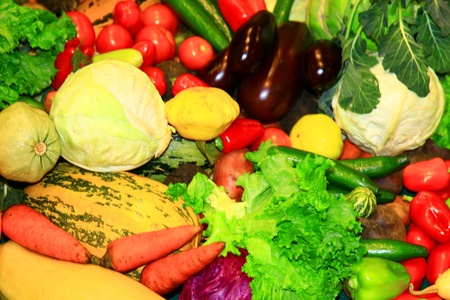 Heap of vegetables. Close up, front view.  photo