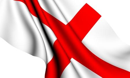bandera inglesa: Bandera de Inglaterra sobre fondo blanco. Close up.