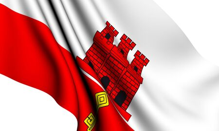 Flag of Gibraltar against white background. Close up.  photo