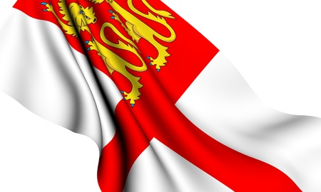 Flag of Sark against white background. Close up.  Stock Photo