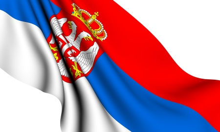 Flag of Serbia against white background. Close up. Stock Photo - 8313666