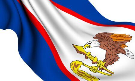 samoa: Flag of American Samoa against white background. Close up.  Stock Photo