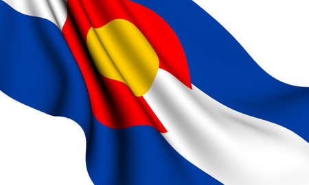 colorado flag: Flag of Colorado, USA against white background. Close up.