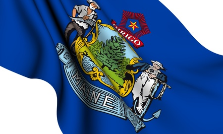 maine: Flag of Maine, USA against white background.