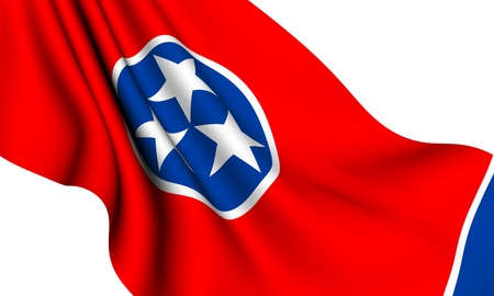 Flag of Tennessee, USA against white background.