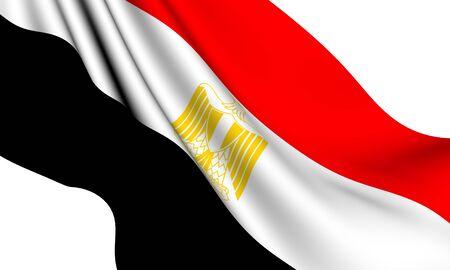 Flag of Egypt against white background. Close up.  photo