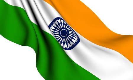 Flag of India against white background. Close up.  photo