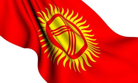 kirgizia: Flag of Kyrgyzstan against white background. Close up.