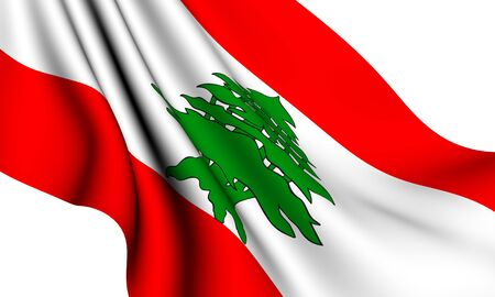 Flag of Lebanon against white background. Close up. Stock Photo - 8363016