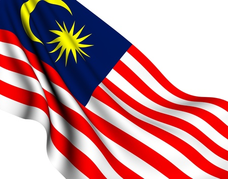 Flag of Malaysia against white background. Close up.  Stock Photo