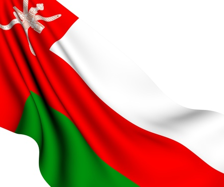 oman background: Flag of Oman against white background. Close up.  Stock Photo