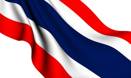 Flag of Thailand against white background. Close up. Stock Photo - 8362960