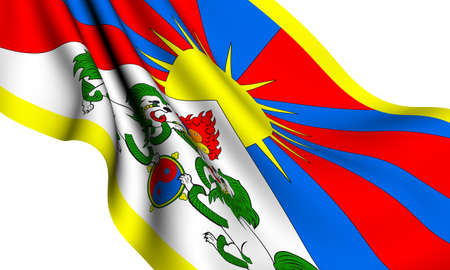 tibet: Flag of Tibet against white background. Close up.