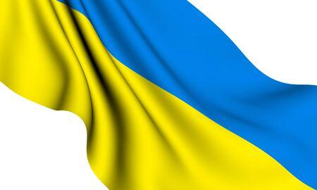 Flag of Ukraine against white background. Close up.