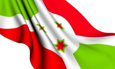 burundi: Flag of Burundi against white background. Close up.  Stock Photo
