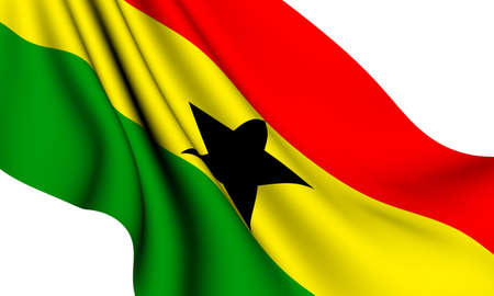ghana: Flag of Ghana against white background. Close up.