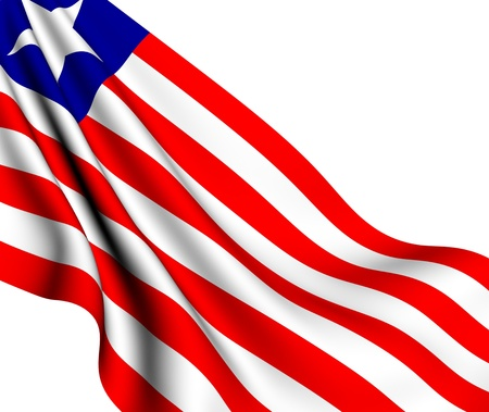 Flag of Liberia against white background. Close up.  photo