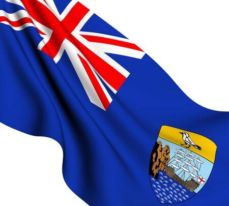 helena: Flag of Saint Helena against white background. Close up.