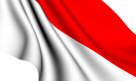 Flag of Monaco against white background. Close up.  photo