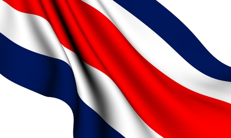 costa: Flag of Costa Rica against white background. Close up.
