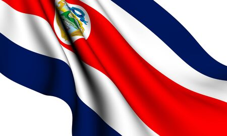 Flag of Costa Rica against white background. Close up.  Stock Photo - 8363107