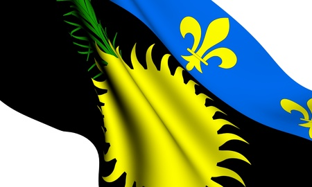 guadeloupe: Flag of Guadeloupe against white background. Close up.  Stock Photo