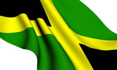 Flag of Jamaica against white background. Close up.  photo
