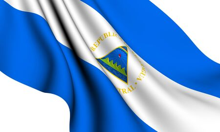 Flag of Nicaragua against white background. Close up.  photo