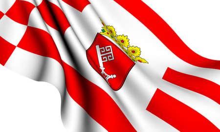 bremen: Flag of Bremen, Germany against white background.
