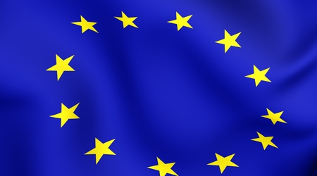 Flag of EU. Close up. Front view.  photo