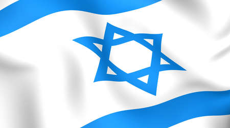 Flag of Israel. Close up. Front view.  photo