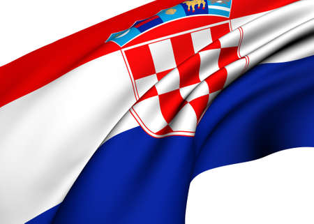 former: Flag of Croatia against white background. Close up.
