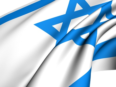 Flag of Israel against white background. Close up.  photo